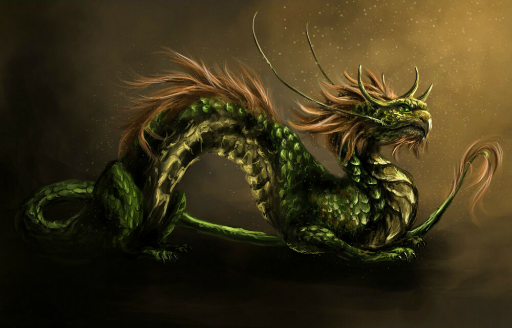Japanese Dragon: Green Scaly Japanese Dragon (Picture Print