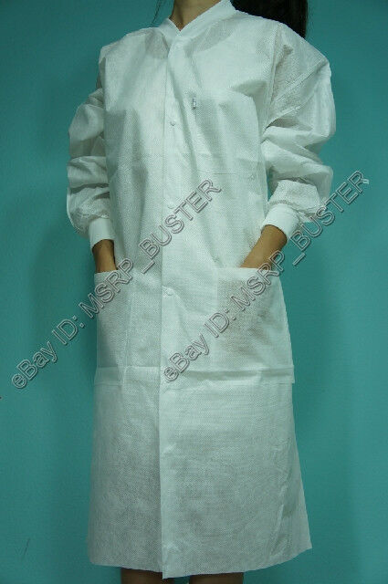 20 Knee Length White Sms Three Layer Disposable Lab Coats