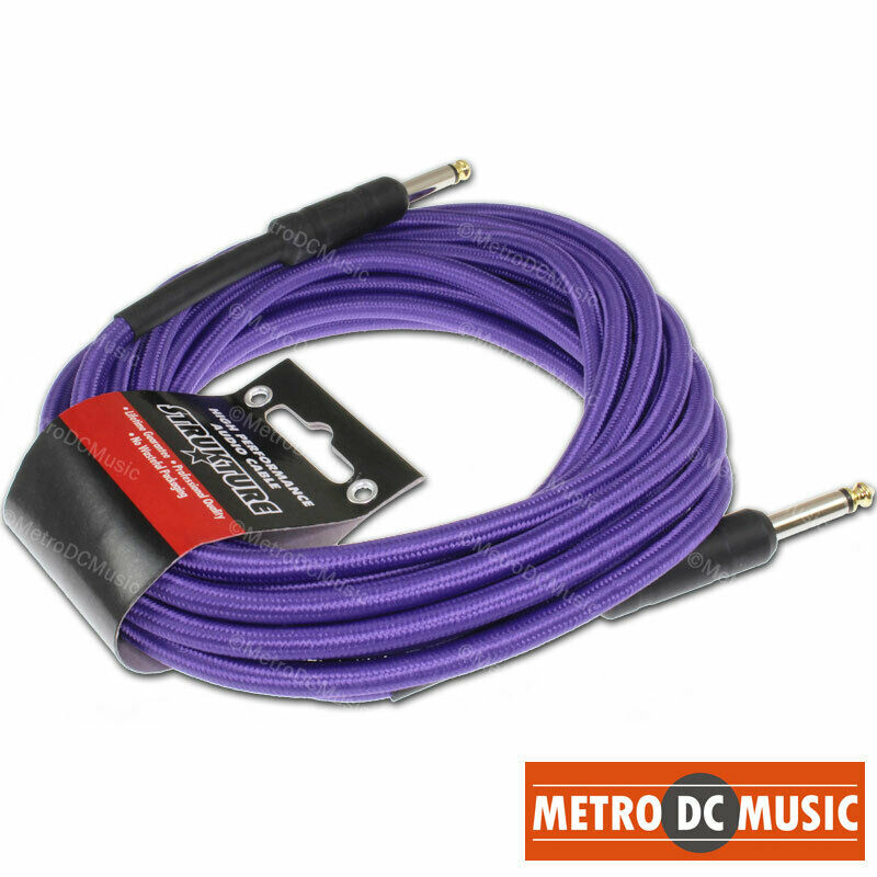18 5 ft purple woven instrument guitar cable cord patch effect gold tip 1 4 ebay. Black Bedroom Furniture Sets. Home Design Ideas