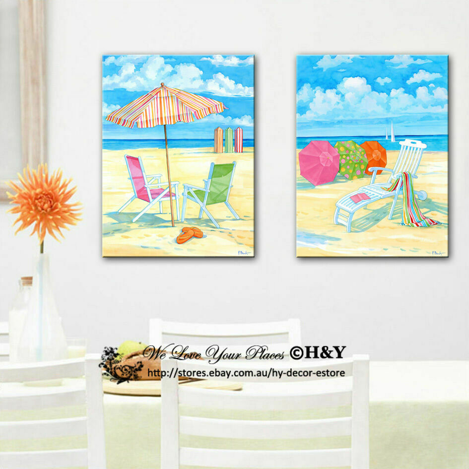 2 50x70x3cm summer beach framed canvas print wall art for Summer beach decor