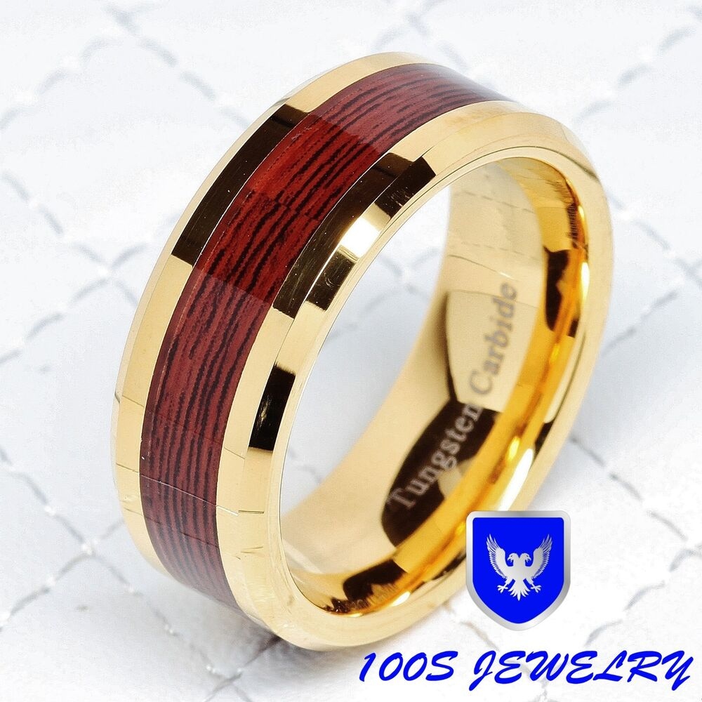 Men's Tungsten Carbide Red Wood Inlay Gold Plated Wedding