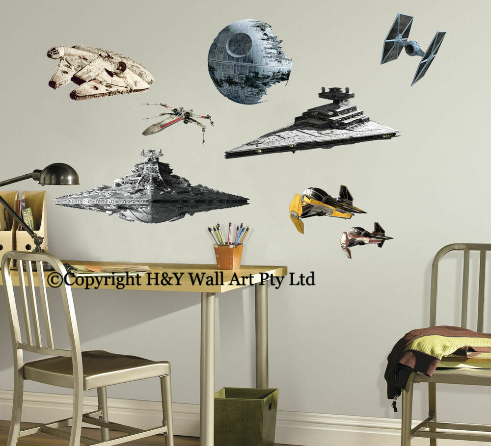 star wars aircraft destoryer death stars wall sticker kids boys decal art mural ebay. Black Bedroom Furniture Sets. Home Design Ideas