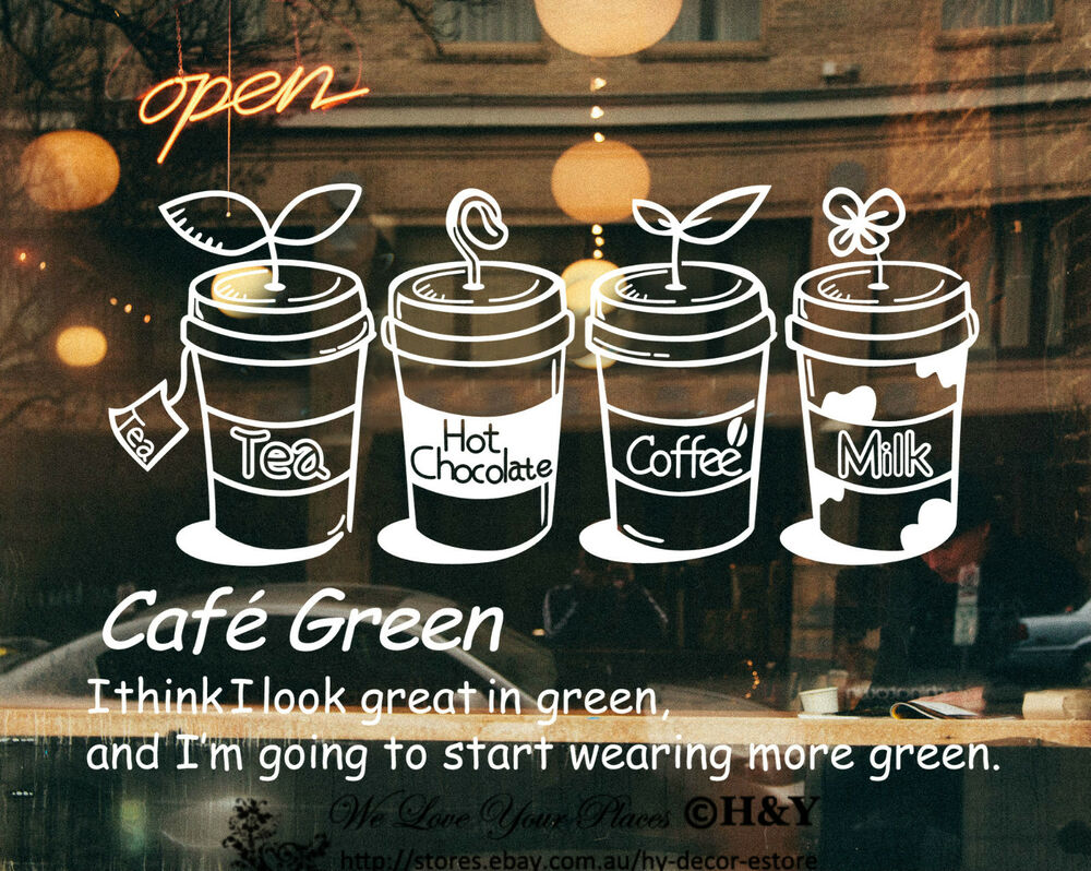 Cake coffee cafe tea shop window sign stickers wall decal for Mural coffee shop