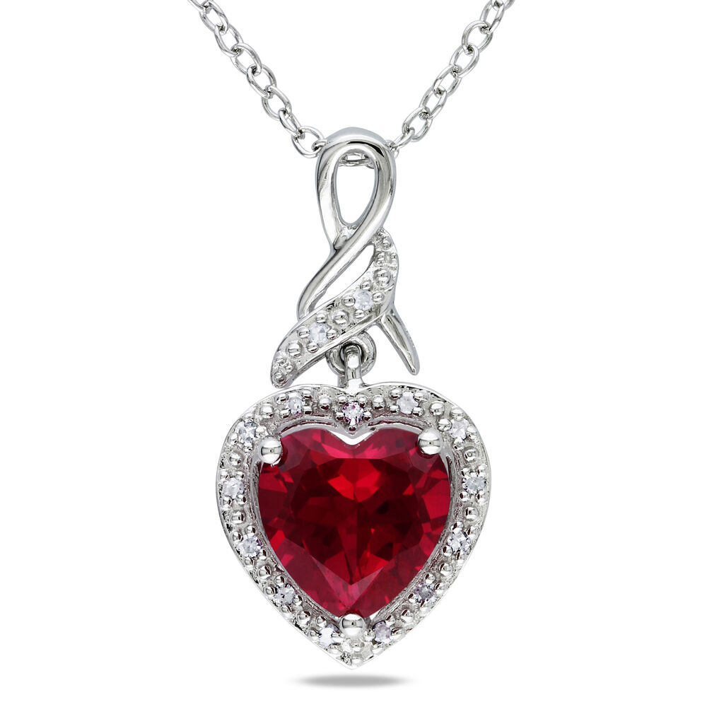 Sterling Silver 2 9 Ct Tw Diamond And Ruby Heart Love