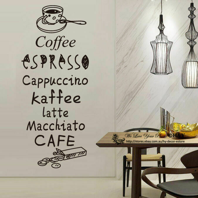 Cake coffee cafe restaurant shop wall stickers window sign decal art quote mural ebay - Wall decor stickers online shopping ...