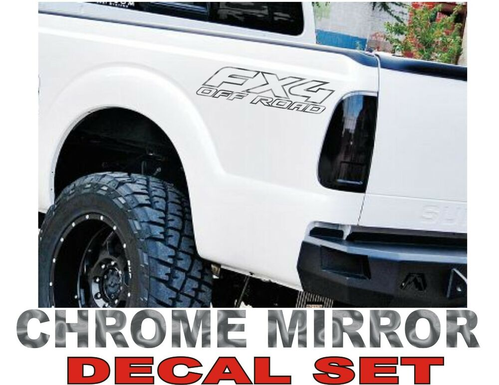 4x4 fx4 truck bed decals chrome set for ford f 150 and. Black Bedroom Furniture Sets. Home Design Ideas