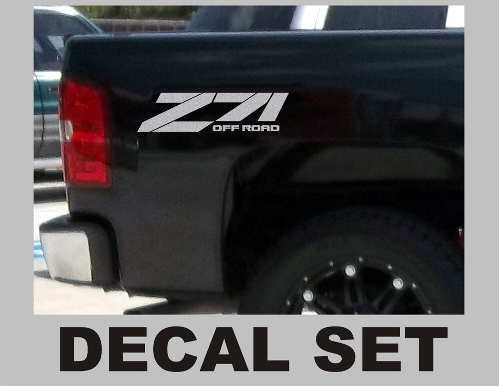 Z71 Truck Bed Decals Silver Metallic Set For Chevrolet