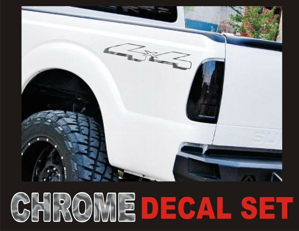 4x4 truck bed decals chrome silver set for ford f 150. Black Bedroom Furniture Sets. Home Design Ideas