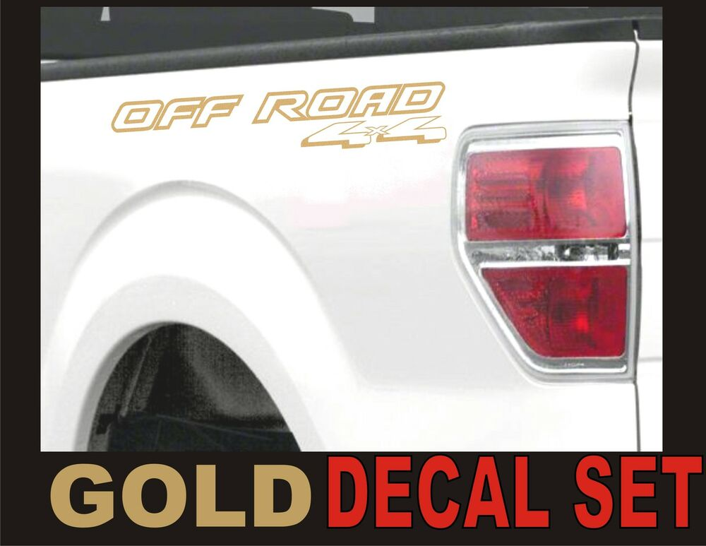 4x4 offroad truck bed decals gold metallic set for ford f. Black Bedroom Furniture Sets. Home Design Ideas
