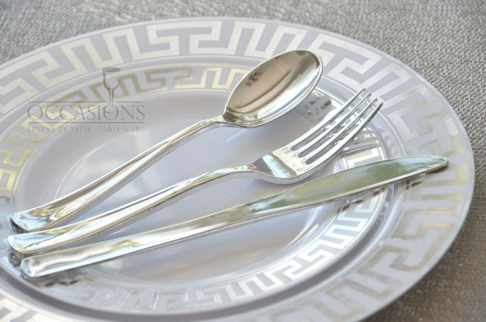 OCCASIONS MILANO COLLECTION Wedding Disposable Plastic Plates Silver