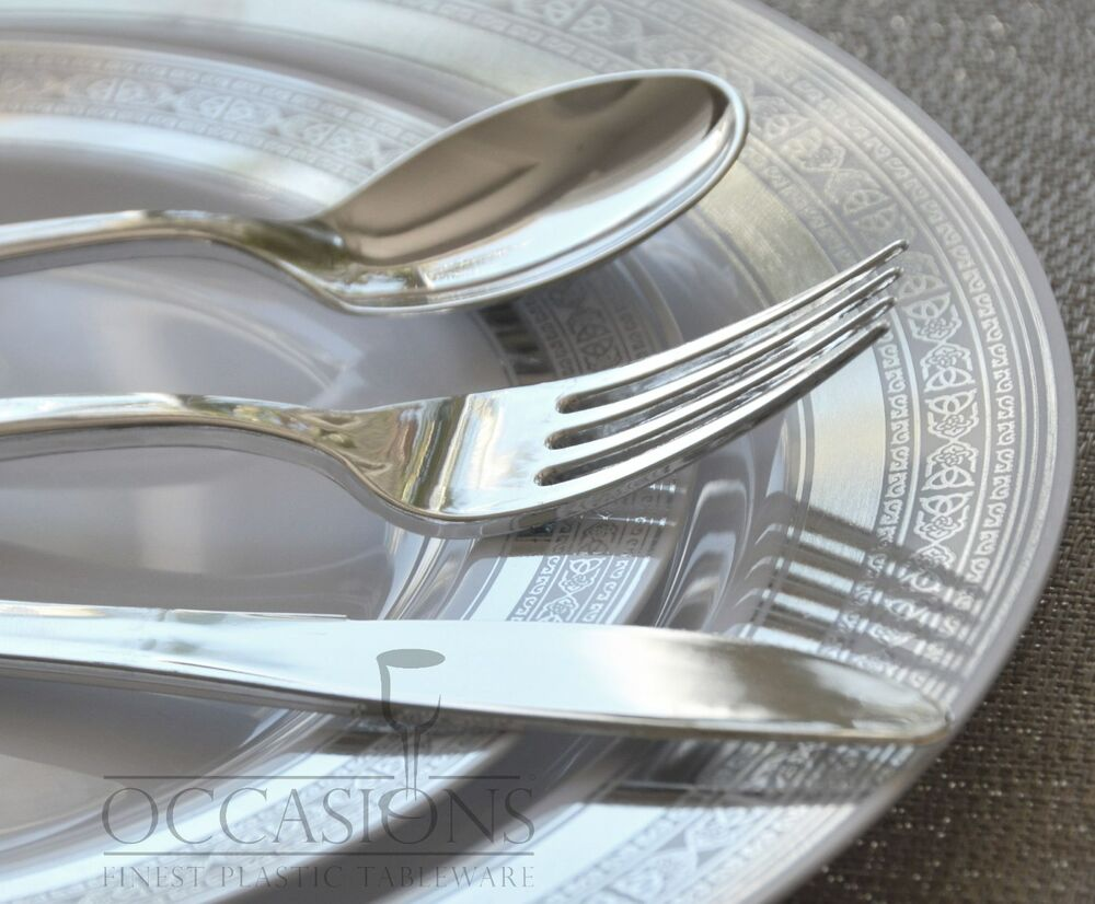 OCCASIONS PALACE COLLECTION Wedding Disposable Plastic Plates Silver