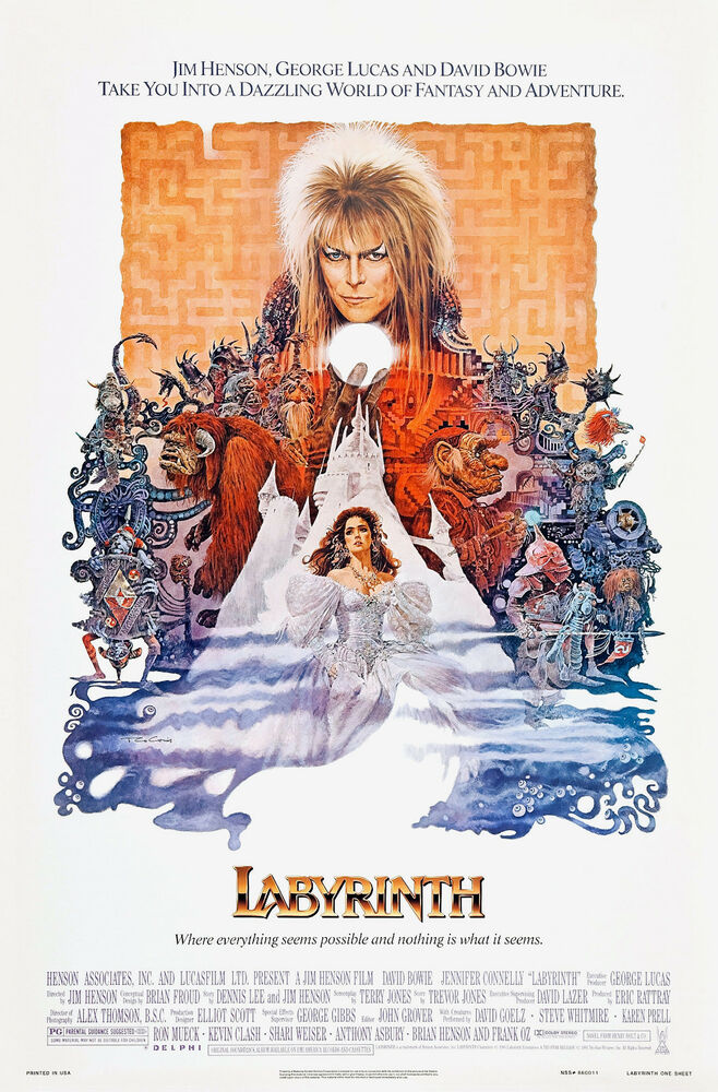 Labyrinth (1986) Movie Poster David Bowie Jim Henson | eBay Labyrinth 1986 Poster