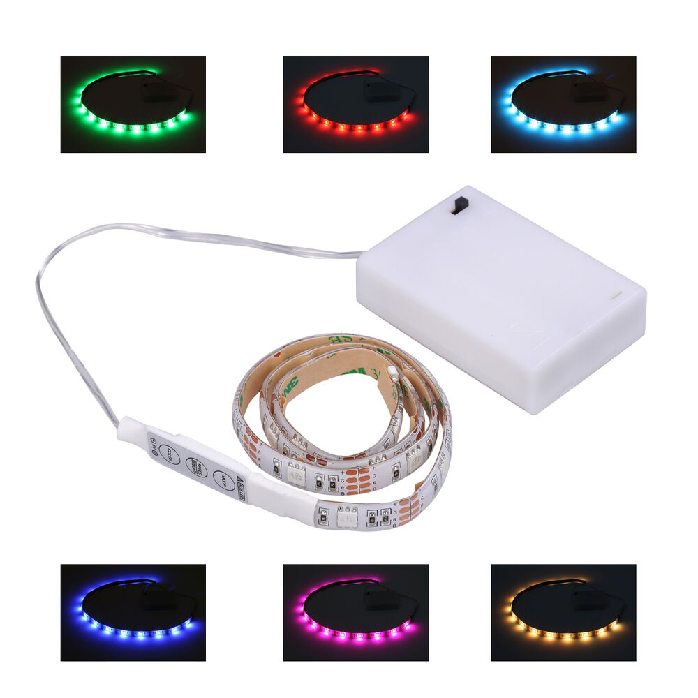 led light rgb strip 50cm battery box mini controller. Black Bedroom Furniture Sets. Home Design Ideas