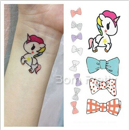 Cute unicorn bowknot tattoo decals body art decal for Printable tattoo paper