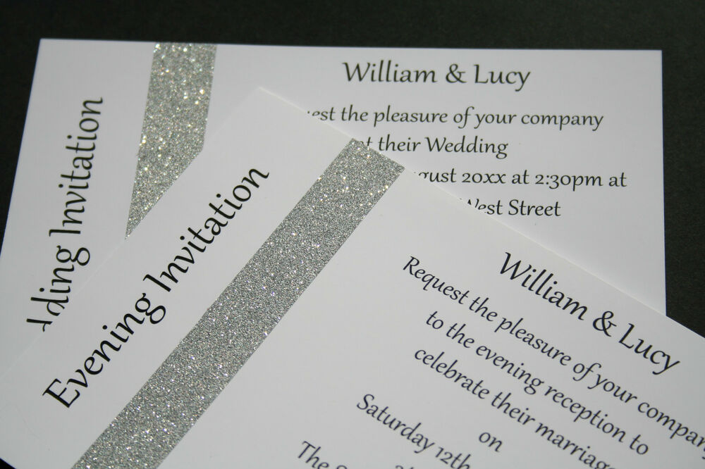 Evening Wedding Reception Invitations: Wedding Invitations Day/Evening Glitter Sparkle Silver Or