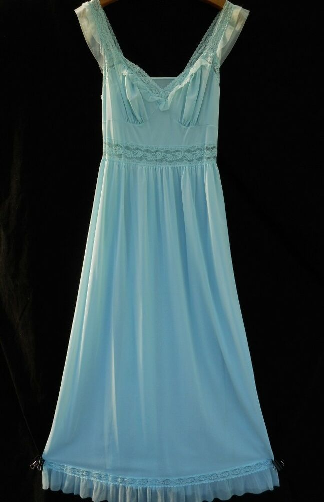 Vintage Dusty Blue Chiffon Amp Lace Nightgown Negligee Gown Gotham Or Vanity Fair Ebay