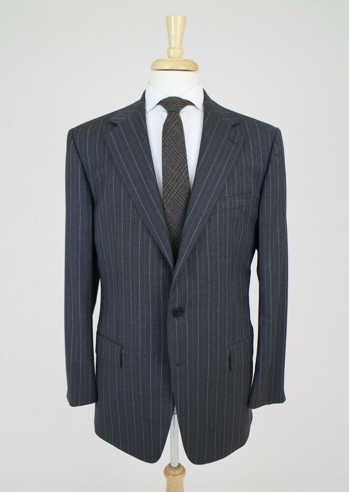 New Listing NWT Kenneth Cole Reaction Suit Jacket Blazer Gray Pinstripe Size 44 Regular Wool % Worsted Wool gray pinstripe suit jacket. Pinstripe is a combo of off white and light blue threading.