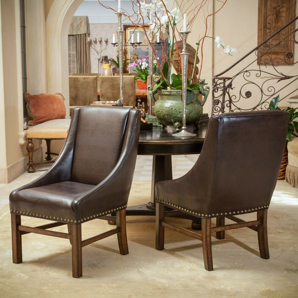 Set Of 2 Dining Room Furniture Brown Leather Dining Chairs