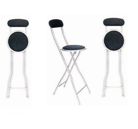 New Black 94cm High Breakfast Bar Party Folding Chair Stool With Back Rest Ebay