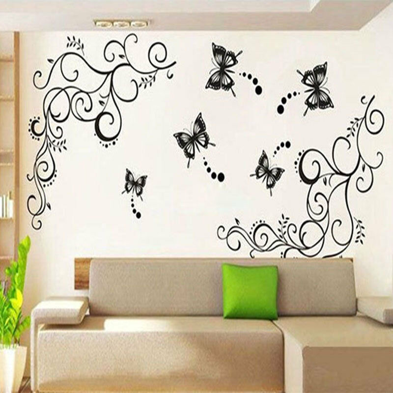 Pindia Black Flower Design Wall Sticker: Large Black Butterfly Wisteria Flower Vine Art Wall Decal