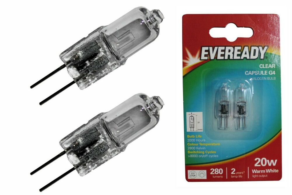 2x eveready 20w 12v g4 200lms clear halogen capsule lamp 2 bulbs free p p ebay. Black Bedroom Furniture Sets. Home Design Ideas