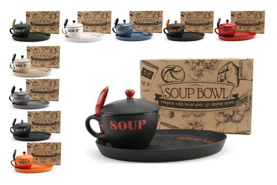 soup bowl with lid spoon and bread plate various colours ebay. Black Bedroom Furniture Sets. Home Design Ideas