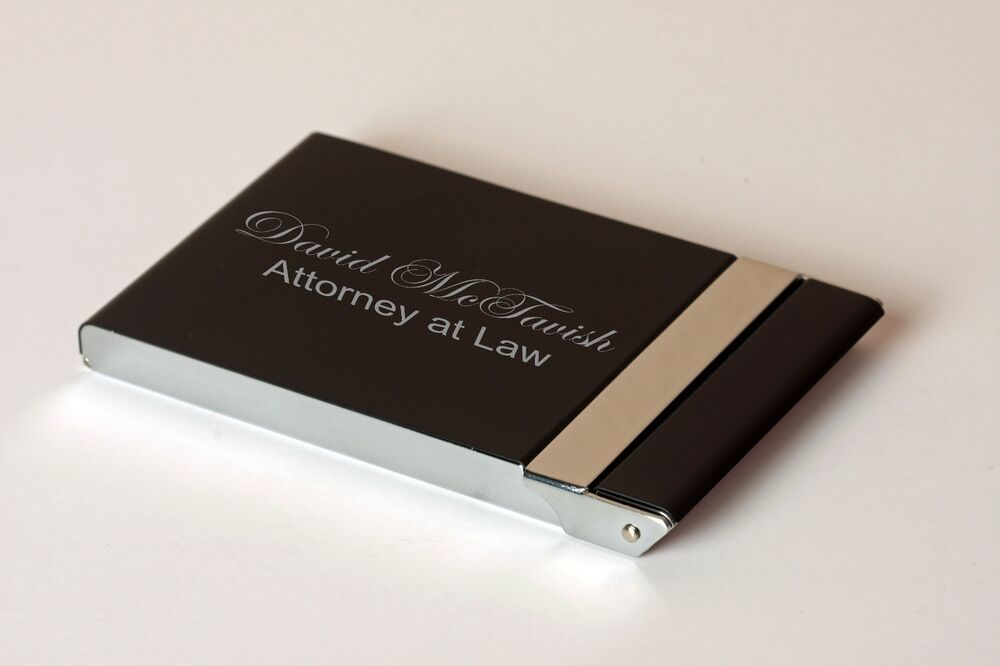 Personalized Black and Silver Hinged Business Card Holder