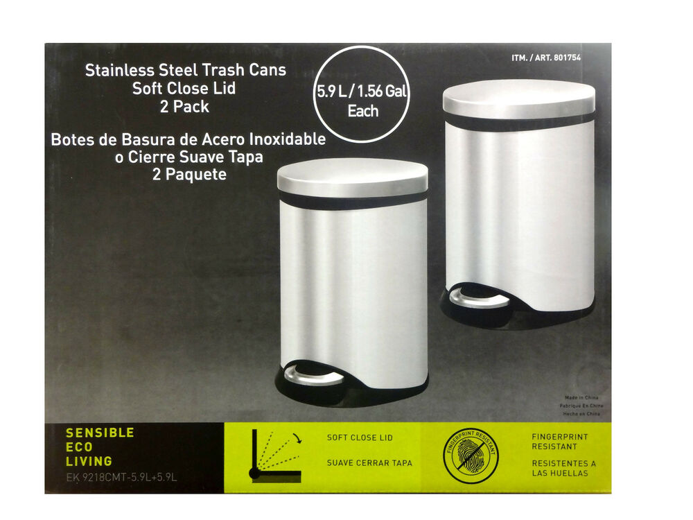 Sensible Eco Living Stainless Steel Garbage Trash Cans 2
