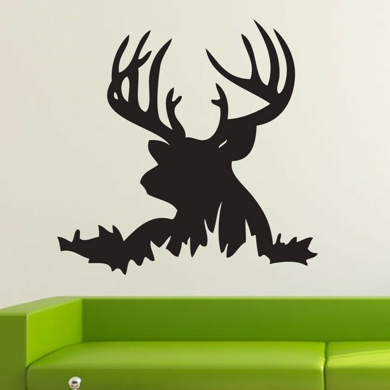 Removable one large deer head animal decoration vinyl wall for Deer mural decal