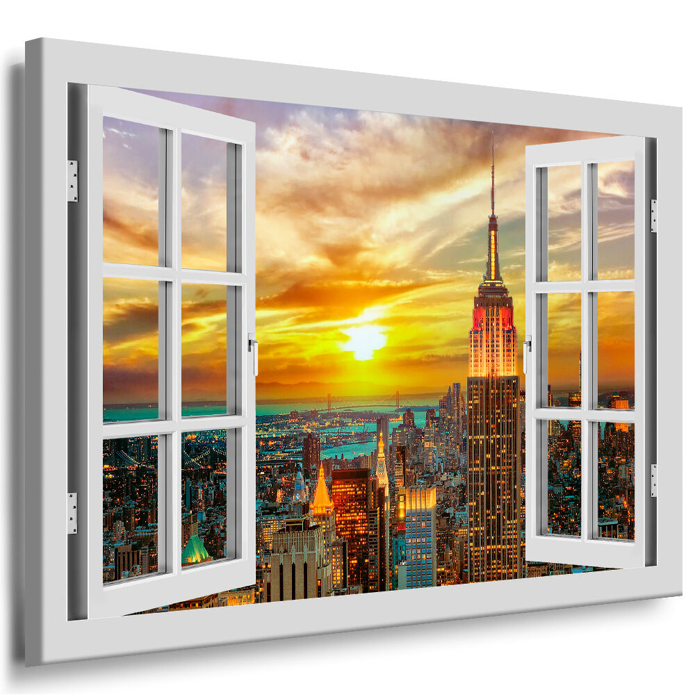 bild leinwand fensterblick new york keilrahmen bilder n212 kunstdruck wandbild ebay. Black Bedroom Furniture Sets. Home Design Ideas