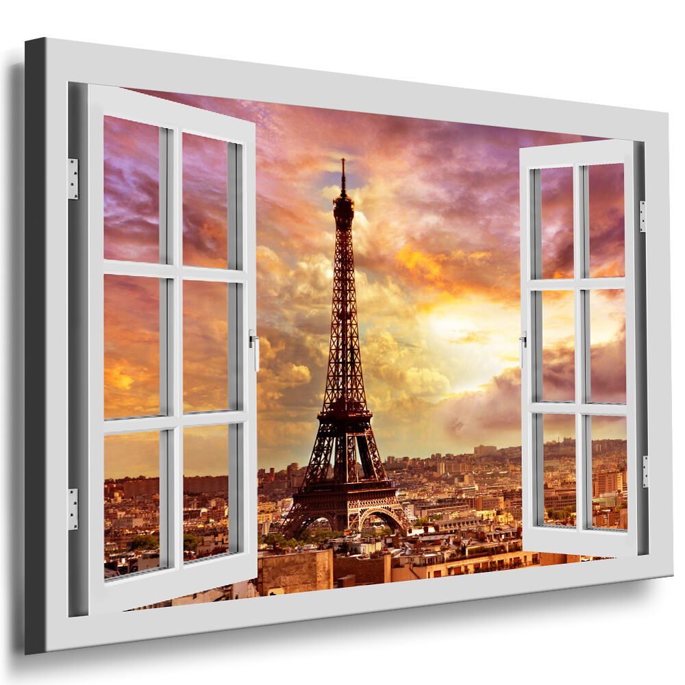bild leinwand fenster blick paris eiffelturm keilrahmen bilder n215 kunstdrucke ebay. Black Bedroom Furniture Sets. Home Design Ideas