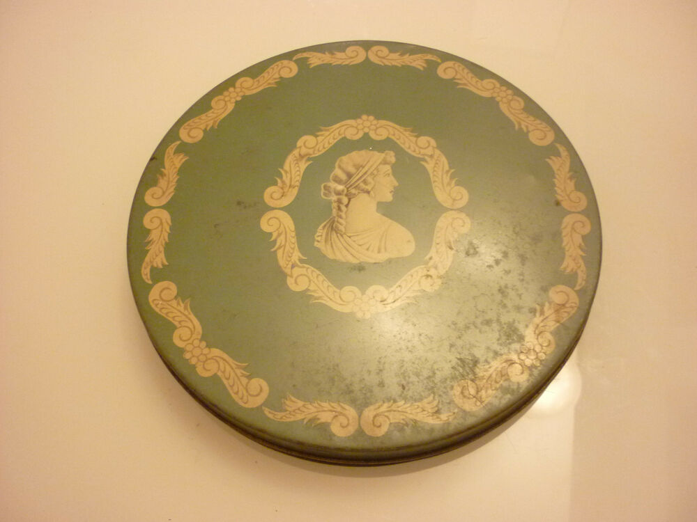 Vintage Antique 10 Quot Round Metal Tin Box Candy Cookies