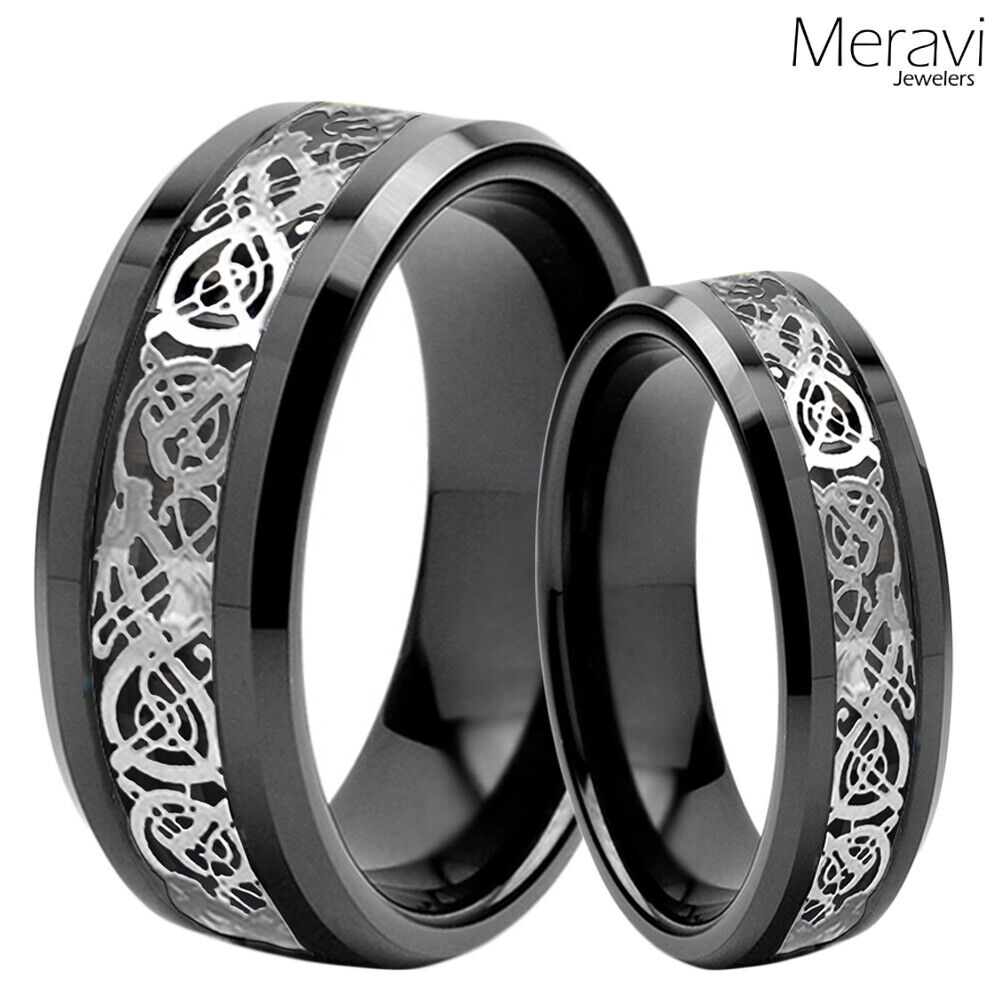 His Amp Her Black Tungsten Carbide Silver Celtic Dragon Mens Ring Wedding Band Set