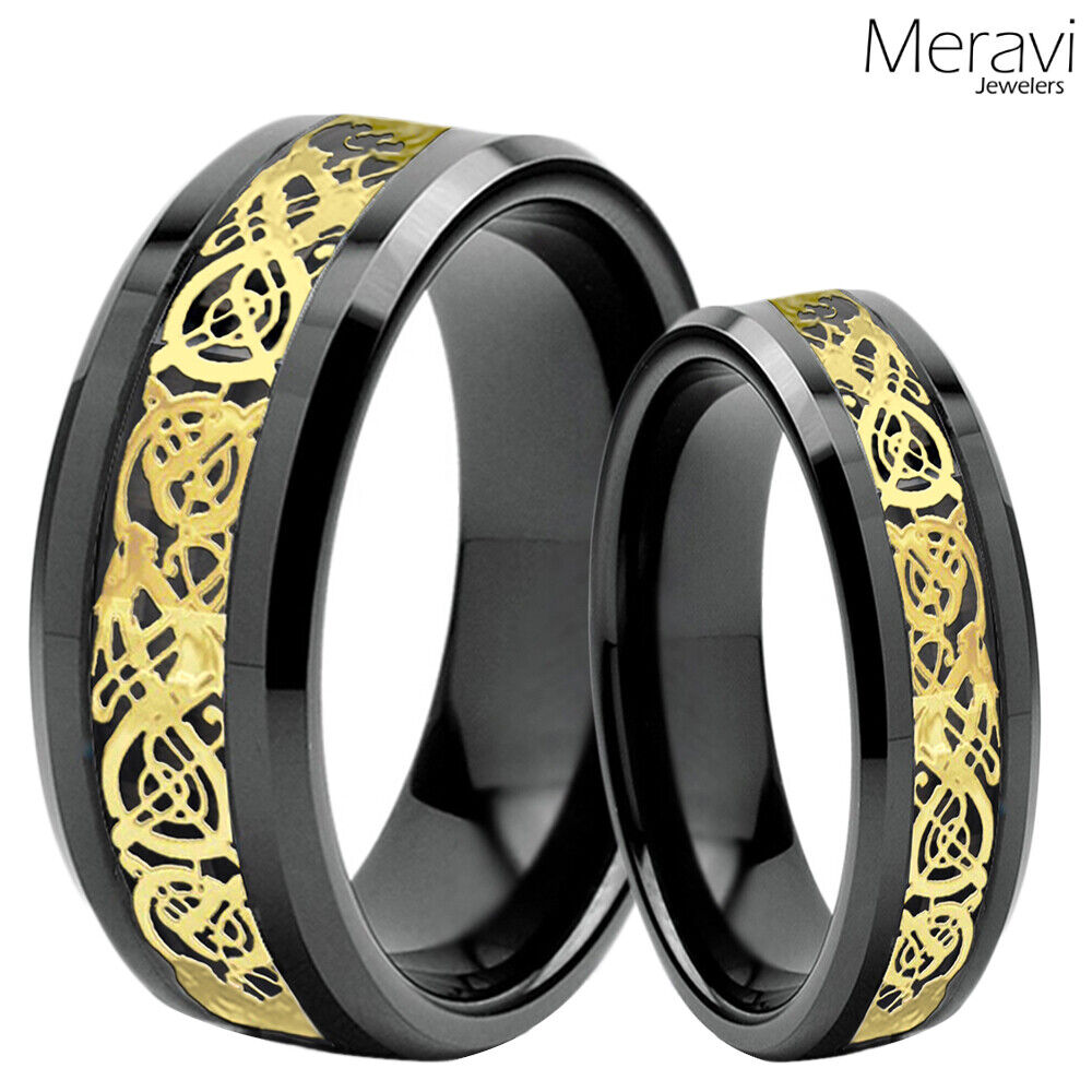 dragon wedding ring his amp black tungsten carbide gold celtic mens 3678