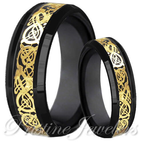 Black tungsten carbide gold celtic dragon mens ring wedding band set