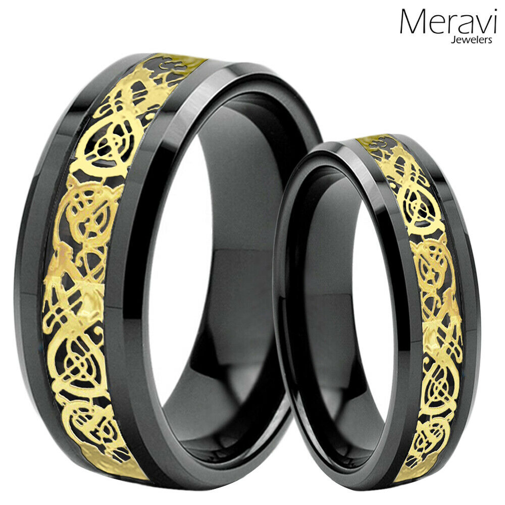 His Amp Her Black Tungsten Carbide Gold Celtic Dragon Mens Ring Wedding Band Set