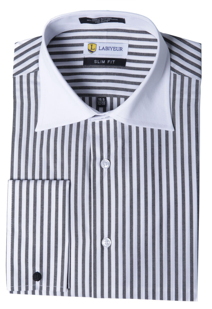 Labiyeur slim fit black and white striped cotton blend White french cuff shirt slim fit