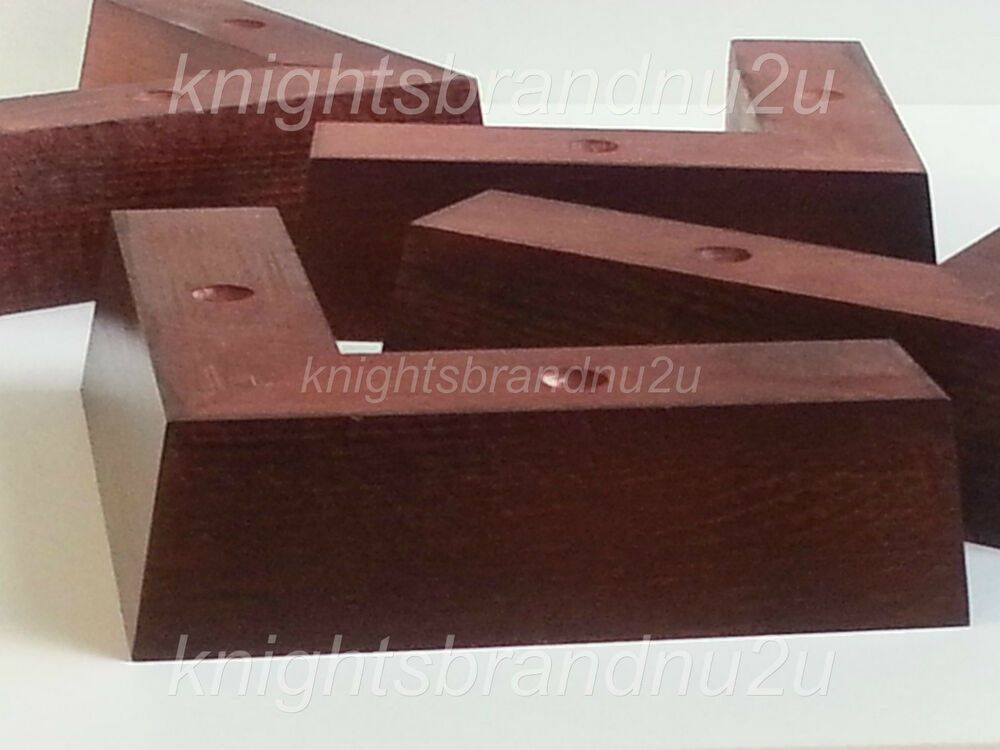4x SOLID WOODEN FEET LEGS FOR SOFAS, CHAIRS, STOOLS, CABINETS & BEDS ...