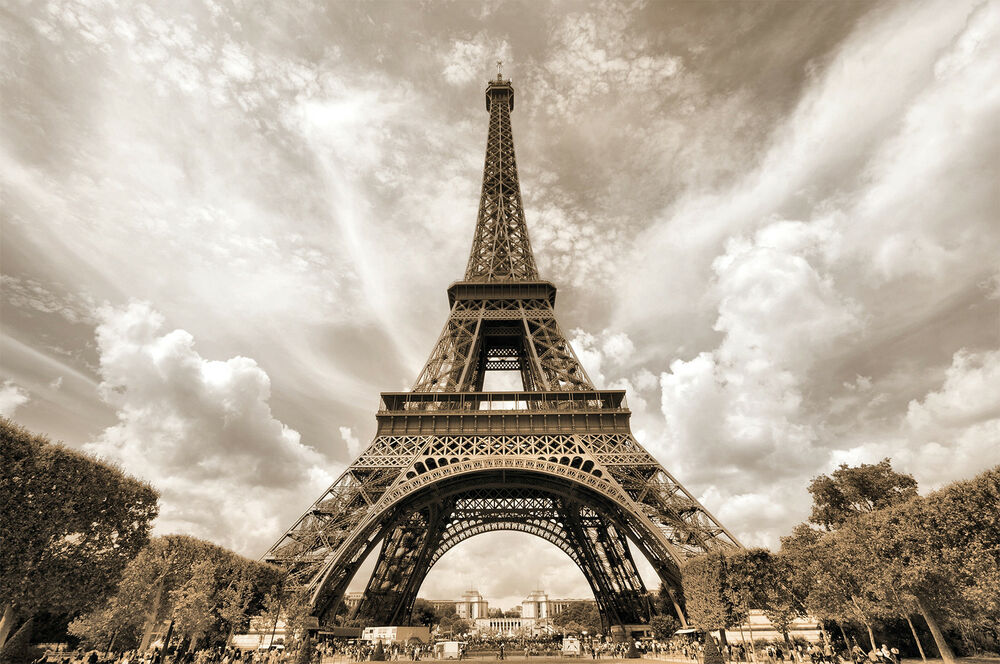 eiffel tower photo wallpaper xxl mural poster paris wall decoration ebay. Black Bedroom Furniture Sets. Home Design Ideas