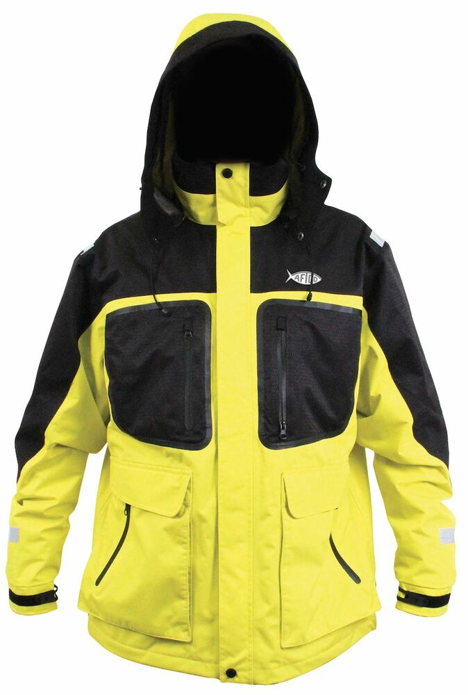 Aftco by guy harvey cyclone rain wind jacket mj03 yellow for Foul weather fishing gear