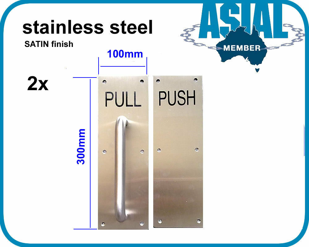 2 sets stainless steel door handle pull push plate satin for 1180 2 door pull
