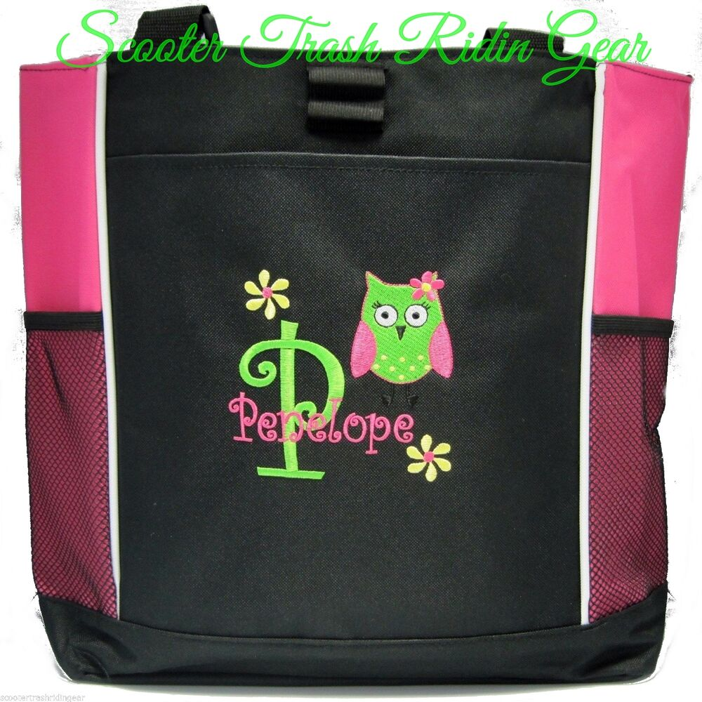 personalized pink owl diaper bag baby tote beach book monogrammed new wedding ebay. Black Bedroom Furniture Sets. Home Design Ideas