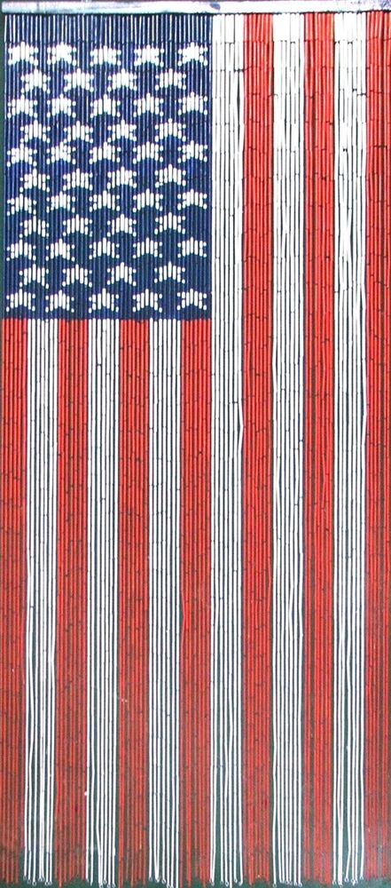 Natural Bamboo Beaded Curtain American Flag Beads Window Doors ...