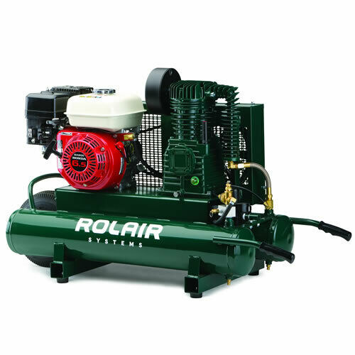 Rolair 6 5 hp 9 gallon gas wheelbarrow air compressor w for Air compressor gas motor
