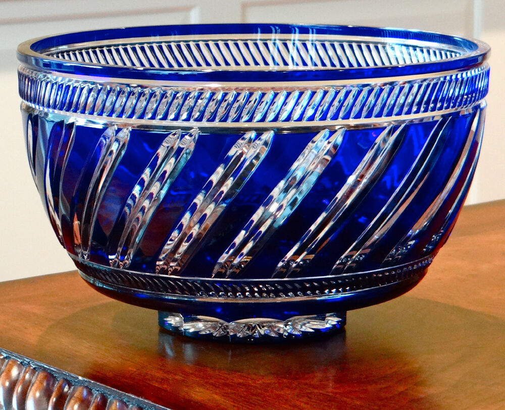 Faberge marie louise bowl quot cobalt blue cased crystal