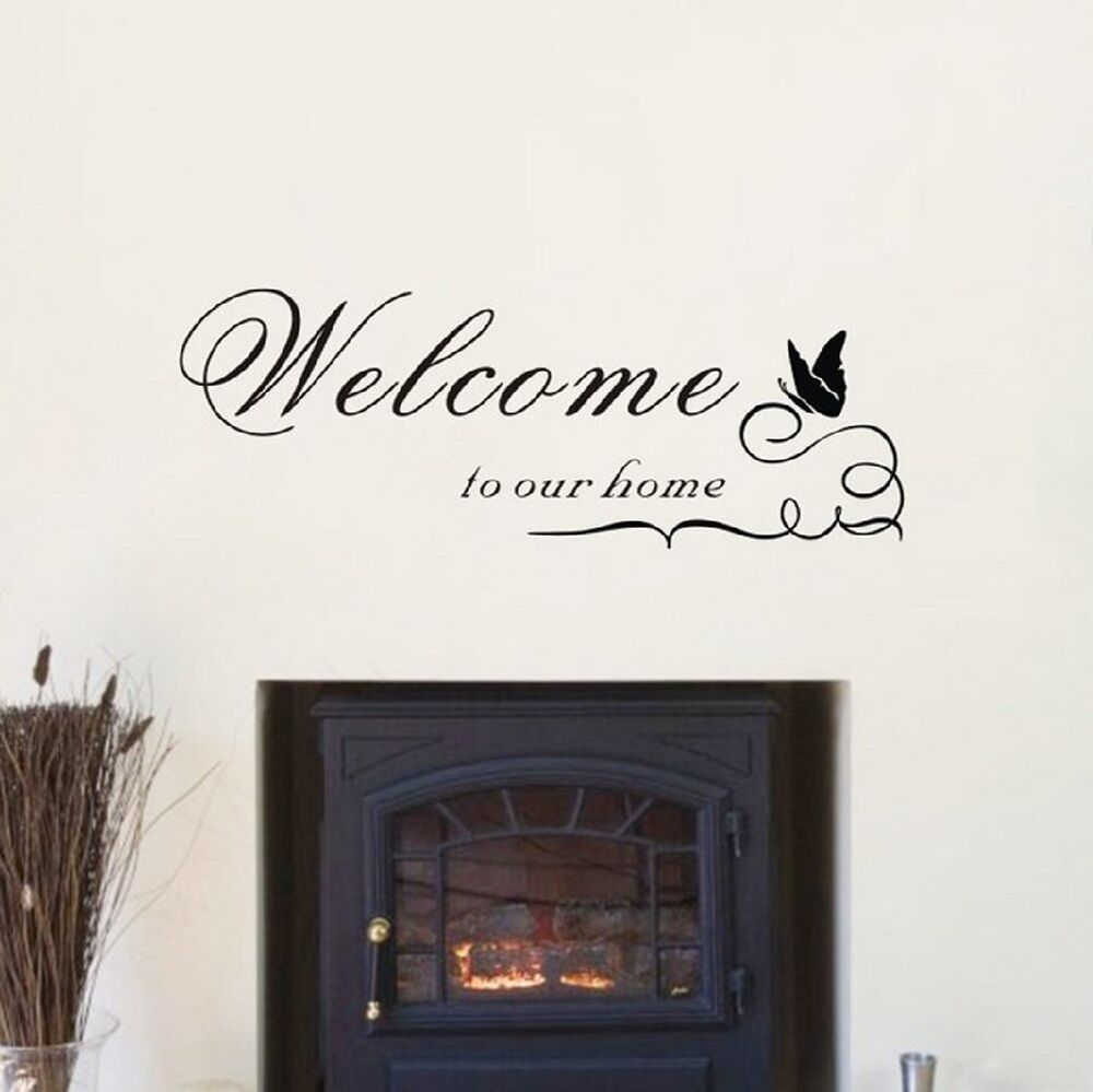 Welcome to our home vinyl wall sticker wall art decal for Dining room wall art stickers