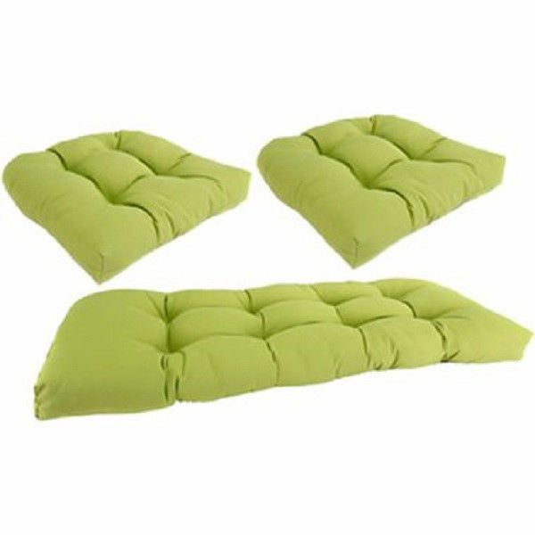 cushions for wicker 3 pc set kiwi green indoor outdoor chair universal