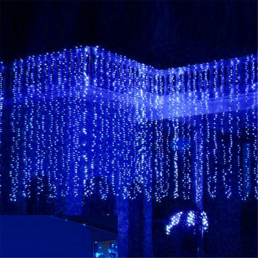 3m x 3m 300 led outdoor curtain string light christmas xmas party fairy wedding ebay. Black Bedroom Furniture Sets. Home Design Ideas