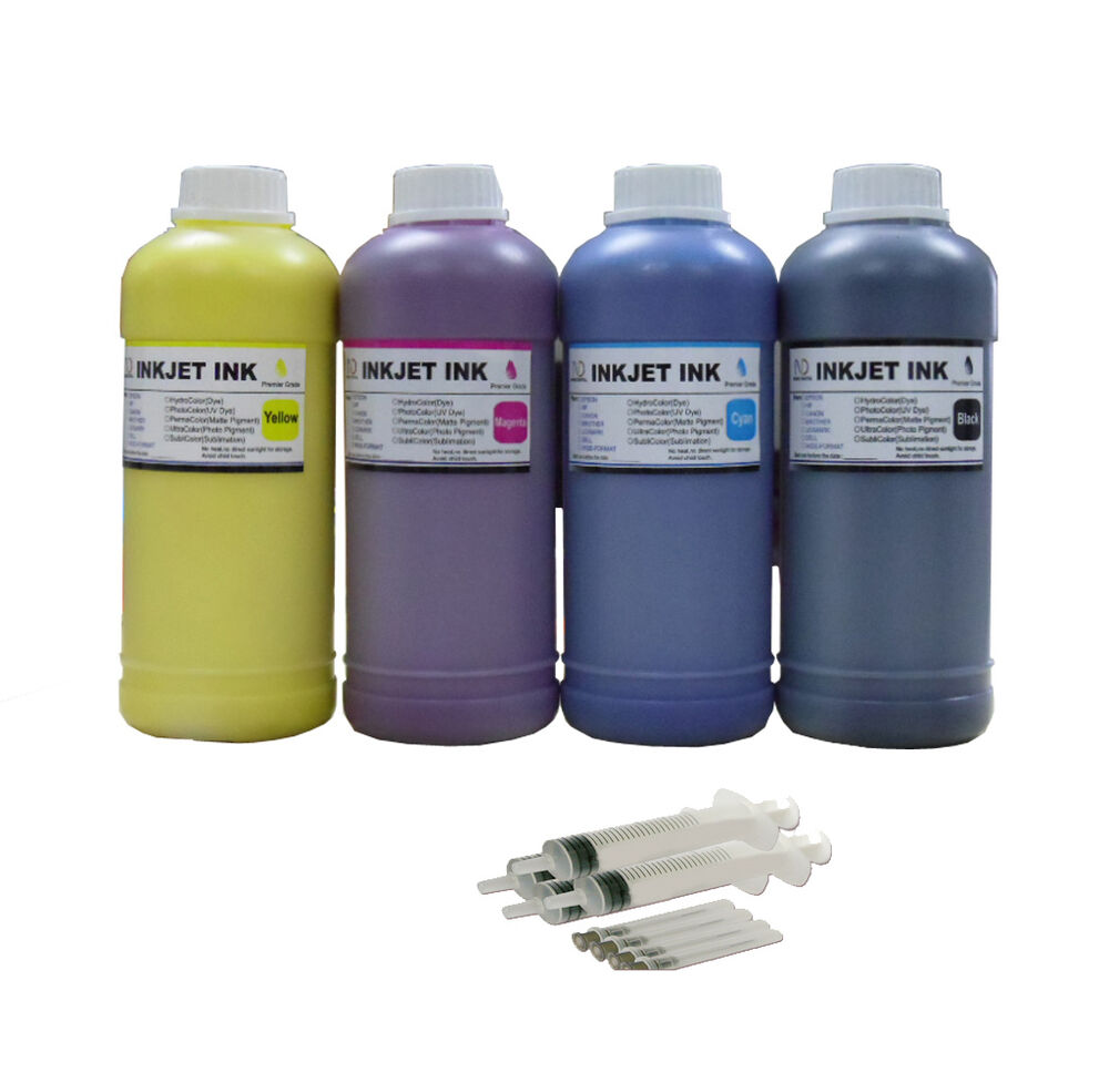 4x500ml 4 Syringes Compatible Pigment Ink Refill For Epson
