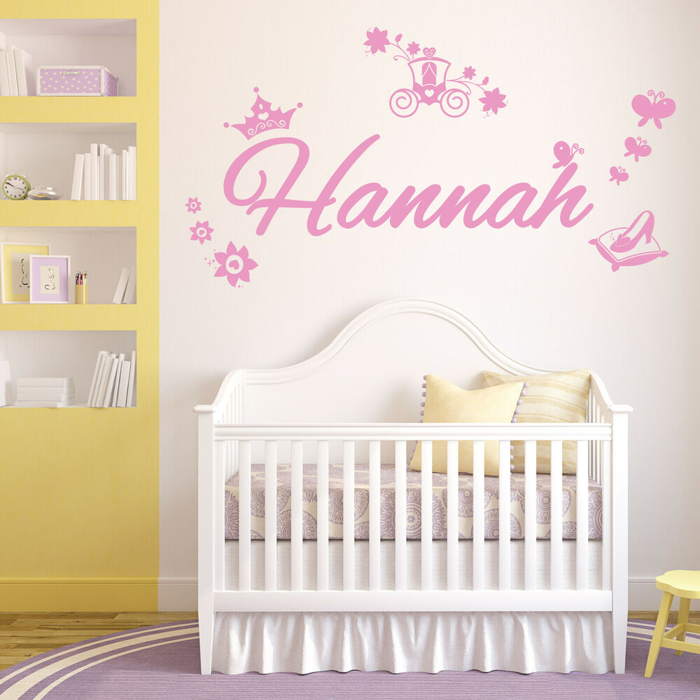 Personalised name girls wall art sticker disney princess for Girls wall art